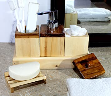 Kleo Wooden Bathroom Accessory Set Bath Accessories Set Of 5 Includes Soap Dispenser Toothbrush Holder Cotton Holder Soap Dish And A Towel Tray Amazon In Home Kitchen