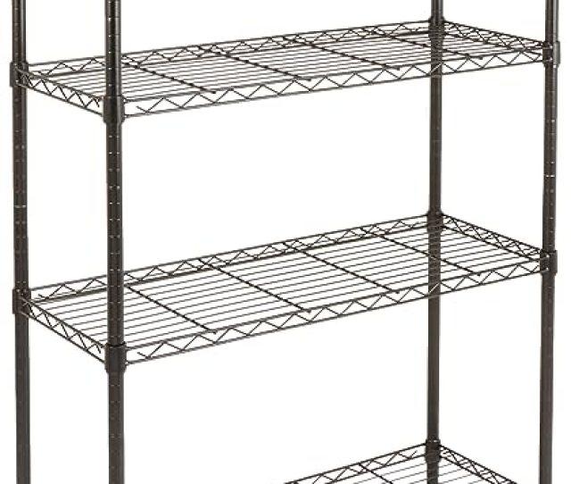 Amazon Com Amazonbasics 4 Shelf Shelving Storage Unit Metal Organizer Wire Rack Black Home Kitchen