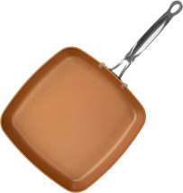 Red Copper Double-Coated 9.5-Inch Square Dance Pan by BulbHead