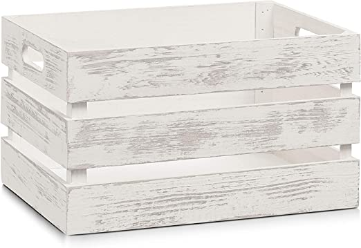 Zeller 15131 Caja de Almacenamiento, Madera, Blanco,