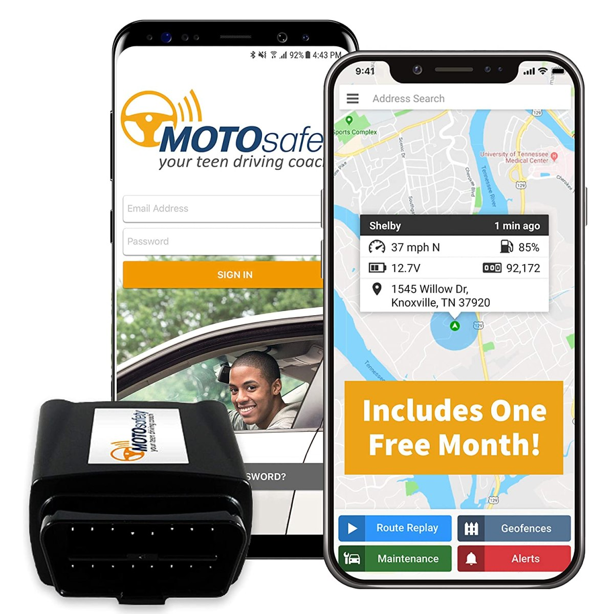 Best Car Trackers Reviews  Car Tracker - MOTOsafety OBD GPS Vehicle Tracker Device with Phone App