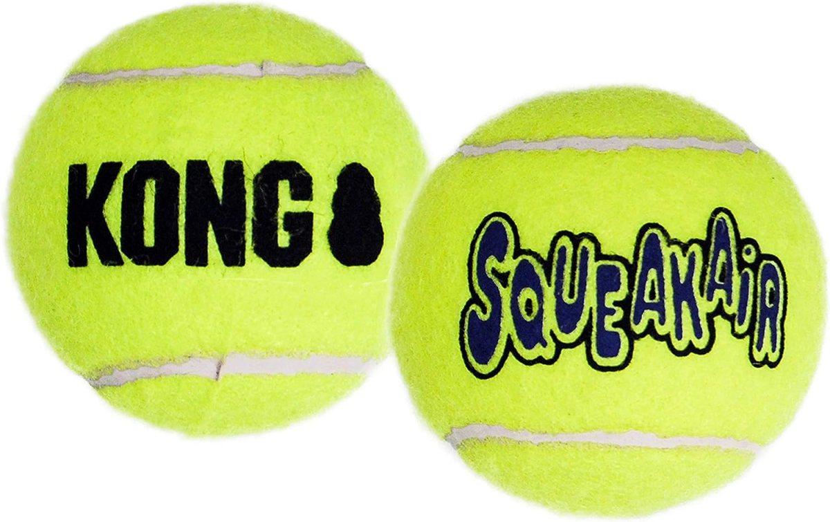 KONG - Squeakair Balls - Pelotas de Tenis sonoras Que respetan Sus Dientes - para Perros de Raza Mediana (3)