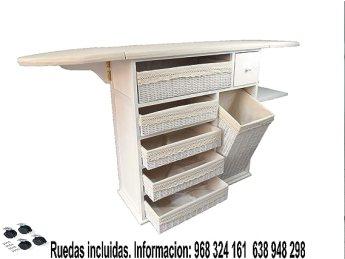 Meyvaser Mueble de Plancha Estoril Blanco Vintage