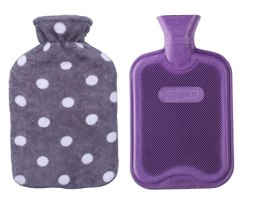HomeTop Premium Classic Rubber Hot or Cold Water Bottle with Soft Fleece Cover (2 Liters, Purple / Gray Polka Dot)