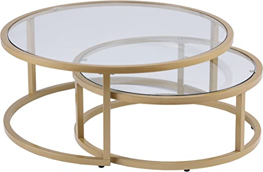 Amazon Com Furniture Hotspot Gold Nesting Coffee Table 2 Pc Round 35 5 W X 35 5 D X 14 75 H Kitchen Dining
