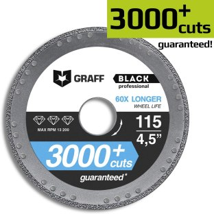 Diamond Metal Cutter GRAFF Black 4 1/2-Inch, Professional Angle Grinder Cutting Wheel