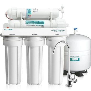 APEC Top Tier UV Ultra-Violet Sterilizer 75 GPD 6 Stage Ultra Safe Reverse Osmosis Drinking Water Filter System