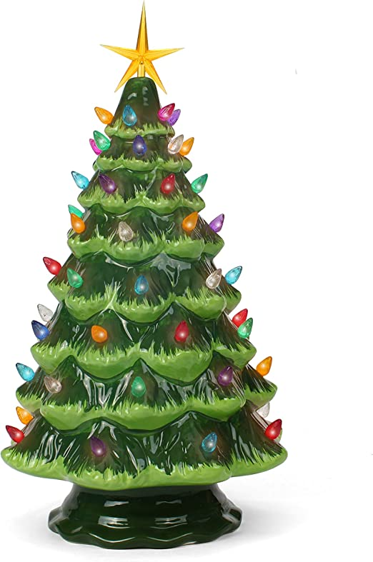 Amazon Com Ceramic Christmas Tree Tabletop Christmas Tree With Lights 15 5 Large Green Christmas Tree Multicolored Lights Lighted Vintage Ceramic Tree Home Kitchen