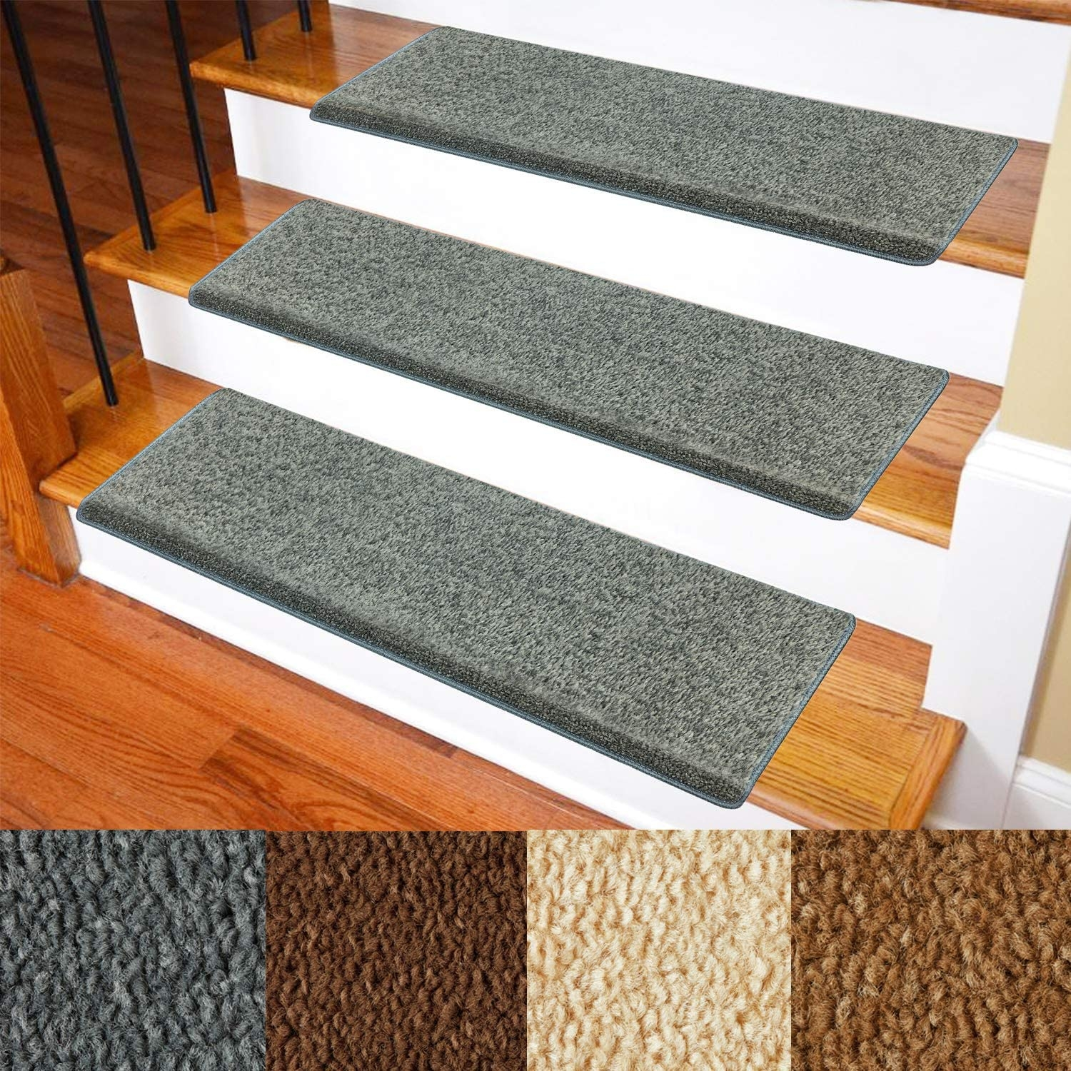 Carpet Stair Treads – Non Slip Bullnose Carpet For Stairs – Indoor | Stairs With Carpet In The Middle | Runner Corner | Laminate | Contemporary | Run On Stair | Marble
