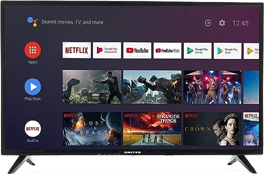 """United 32"""" Pouces Android 9.0 Smart TV 80cm HD LED Téléviseur (Google Assistant, Google Play Store, Prime Video, Netflix) Chromecast intégré, Triple Tuner, WiFi, Bluetooth [Classe énergétique A]"""
