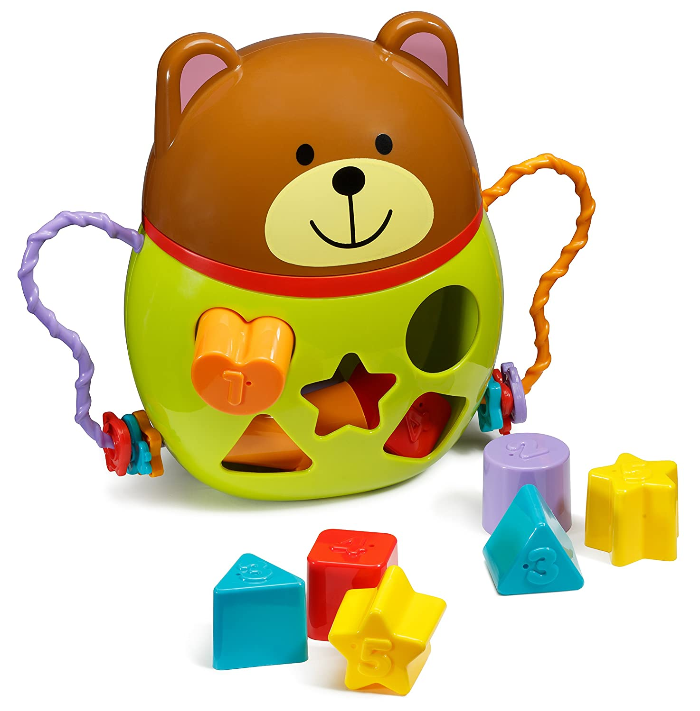 Playkidz Super Durable Bear Shape Sorter Pull Along Different shapes blogs for kids