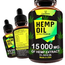 Hemp Oil Drops, 15 000 mg, Natural CO2 Extracted, 100% Organic, Pain, Stress, Anxiety Relief, Reduce Insomnia, Vegan Friendly, Zero CBD, Zero THC