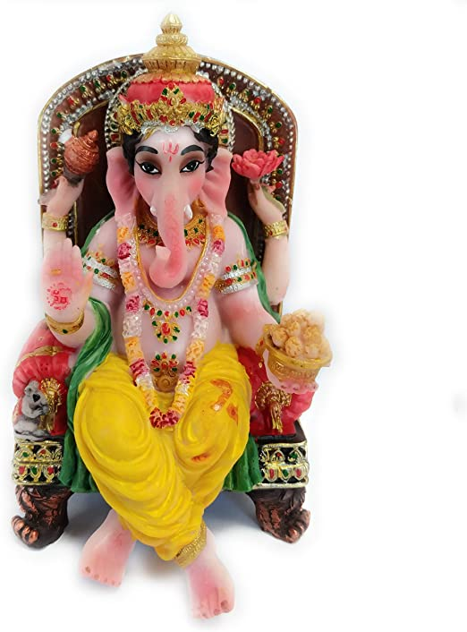 Amazon Com Ganesh Ji Hindu God Ganesha Elephant God Asaan Statue Home Kitchen