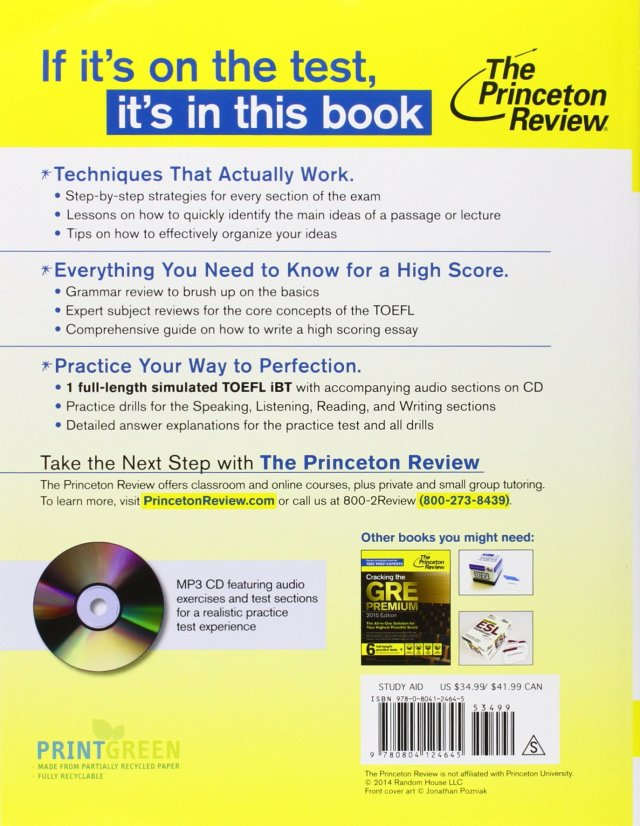 Cracking the TOEFL iBT with Audio CD, 14 Edition (College Test