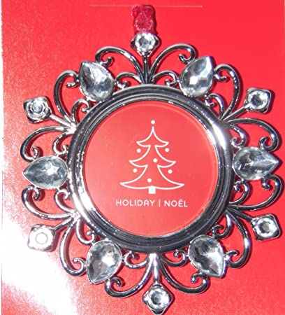 Studio Decor Round Bling Christmas Ornament Photo Frame Enamel Metal