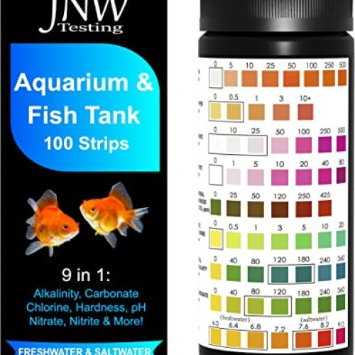 JNW Direct Aquarium Test Strips for Fish Tank 9 in 1, 100 Strip Pack