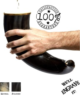 AleHorn Authentic Drinking Horn Curved Style with Stand