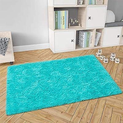 Buy Maxsoft Fluffy Rug For Bedroom Blue Shag Area Rug For Living Room 4 X 5 9 Feet Fuzzy Rug For Girls Kids Carpet Plush Rug For Nursery Bedside Floor Online In Indonesia B088dffcnl