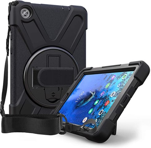 Case for Lenovo Tab M8 | Herize Smart Lenovo M8 Case TB-8505F TB-8505X TB-8505 with 360° Rotatable Kickstand | 3 Layer Shockproof Rugged Durable Protective Case W/Hand Strap Shoulder Strap | Black