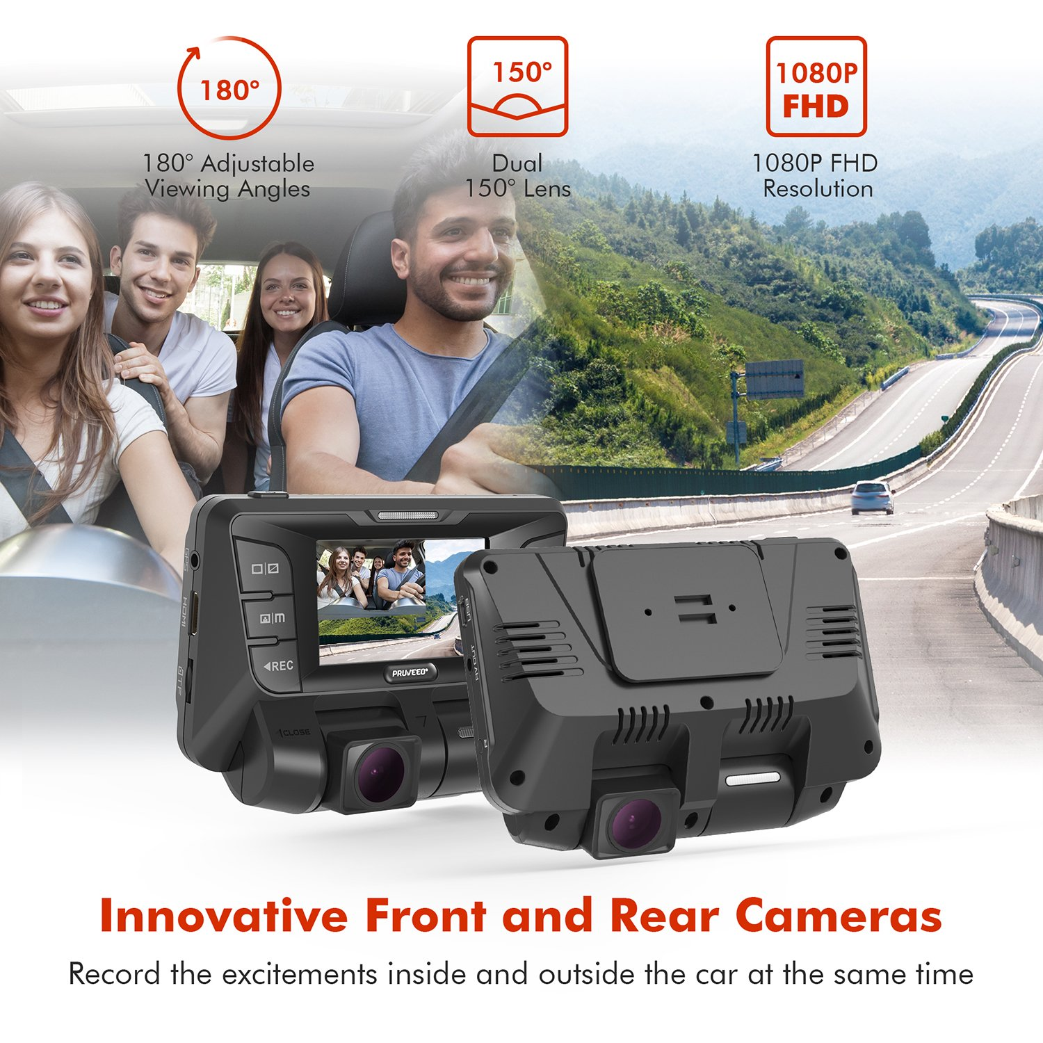 Pruveeo C2 Dual Dash Cam 1920x1080P Front and Rear Car Dashboard Camera