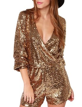 HaoDuoYi Womens Sequin V Neck Wrap Tunic Party Jumpsuit Romper(S,Gold)