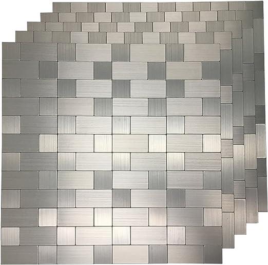 Amazon Com Art3d 10 Pack Self Adhesive Metal Backsplash Peel And Stick Tile For Kitchen 12 X 12 Silver Aluminium Surface Home Kitchen