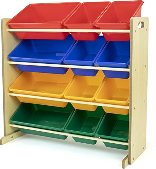 Amazon Com Humble Crew Natural Primary Kids Toy Storage Organizer With 12 Plastic Bins Furniture Decor