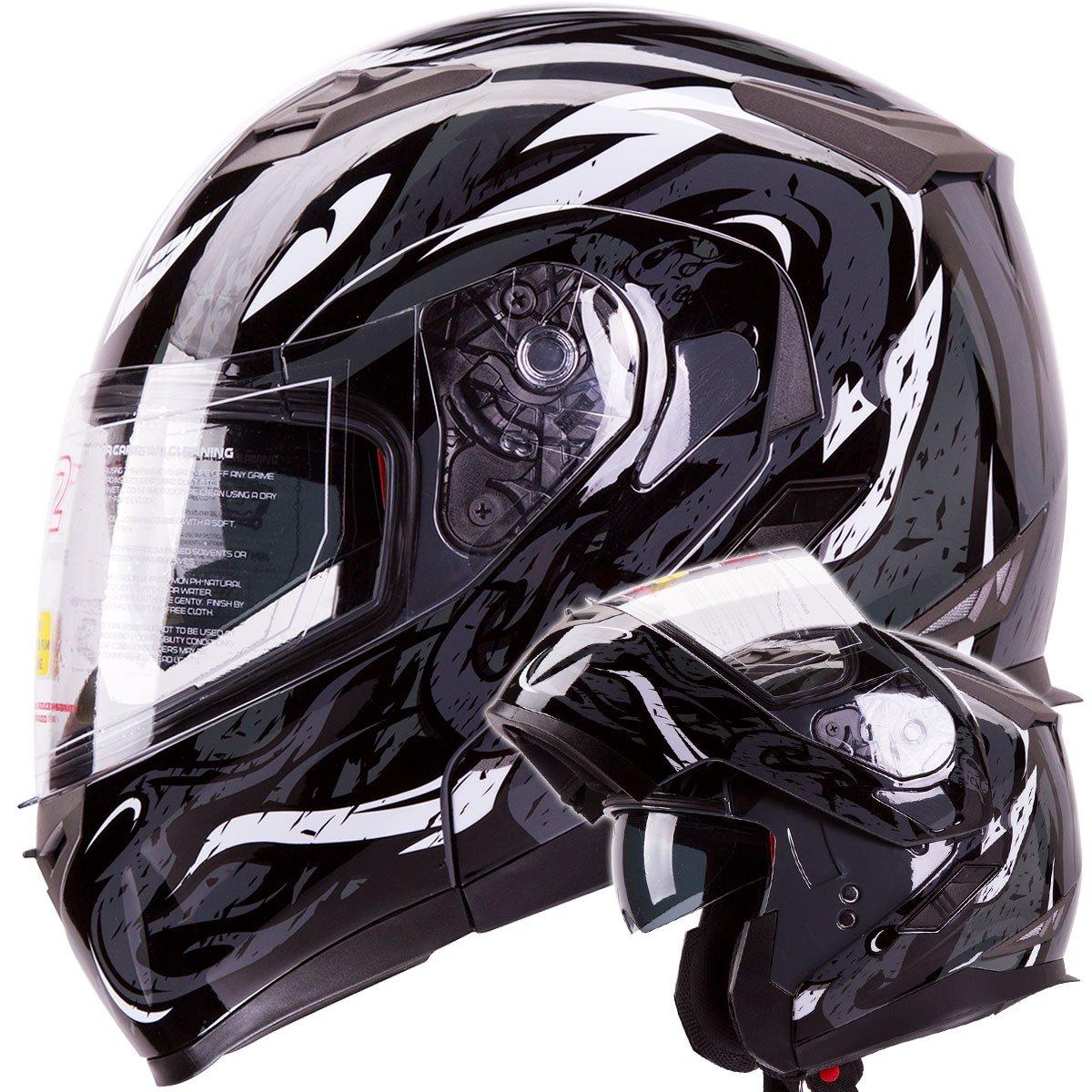 VIPER Modular Dual Visor Motorcycle / Snowmobile Helmet DOT Approved