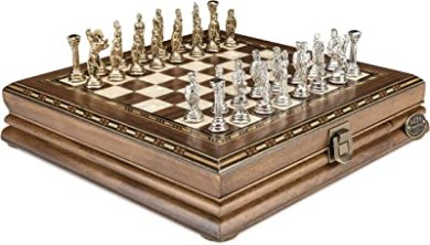 """Luxury Chess Set - Antique Walnut Board in Mosaic Art with Bzyantin Chess Pieces - 10"""""""