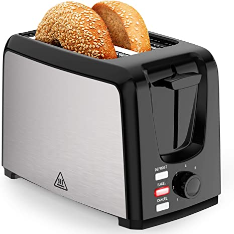 Amazon Com Toaster 2 Slice Wide Slot 2 Slice Toasters Best Rated Prime With Bagel Defrost Cancel Function Balck Toaster Removable Crumb Tray Kitchen Dining