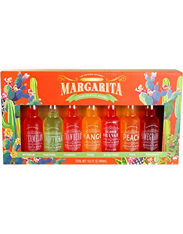 Thoughtfully Gifts, Margarita Cocktail Mixer Set, Includes 7 Unique Margarita Flavors: Watermelon, Strawberry, Mango, Blood Orange, Peach, Pomegranate and Traditional (Contains NO Alcohol)