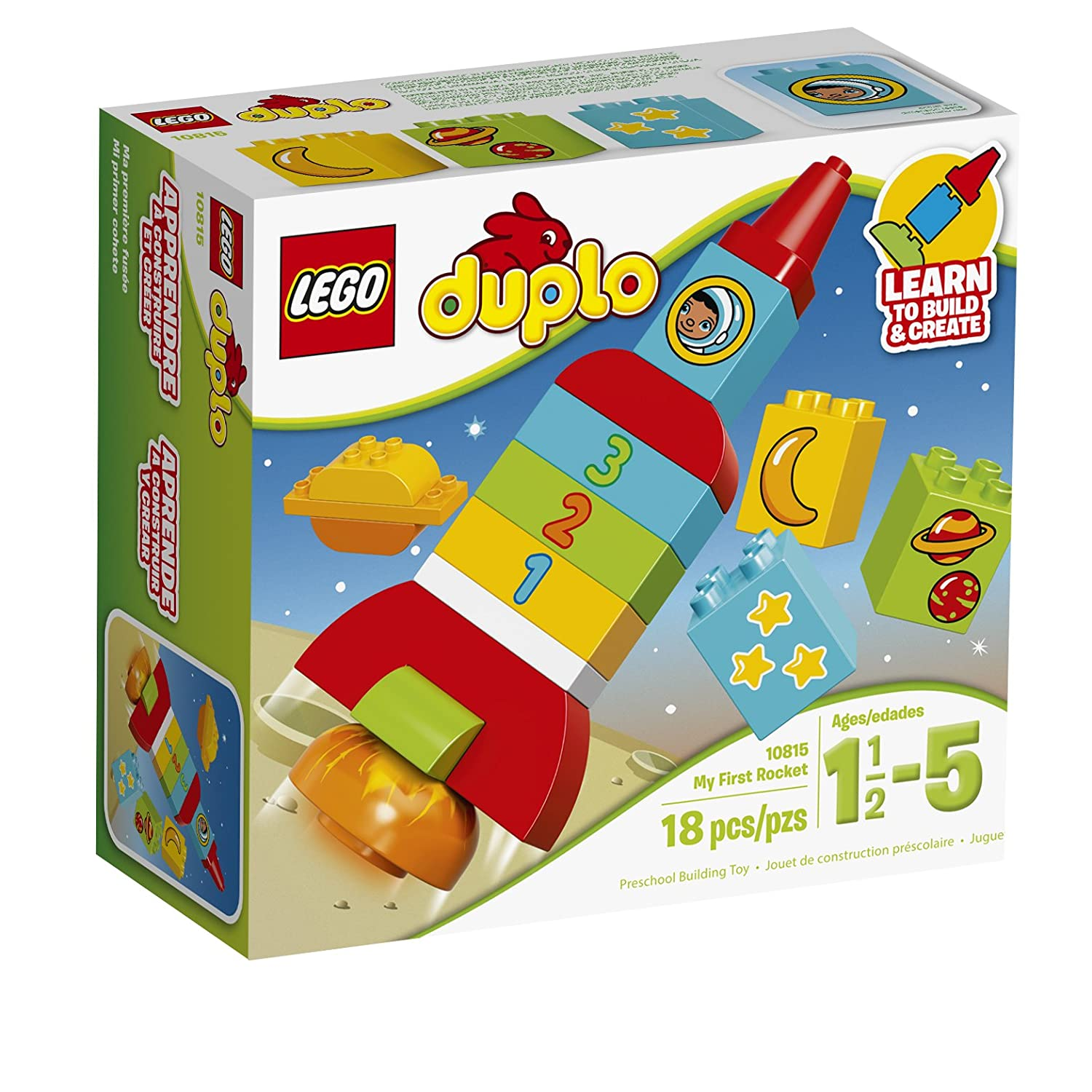 LEGO DUPLO My First Rocket 10815, Preschool, Pre-Kindergarten Large Building Block Toys for Toddlers