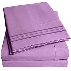 1500 Supreme Collection Extra Soft Queen Sheets Set, Plum - Luxury Bed Sheets Set With Deep Pocket Wrinkle Free Hypoallergenic Bedding, Over 40 Colors, Queen Size, Plum