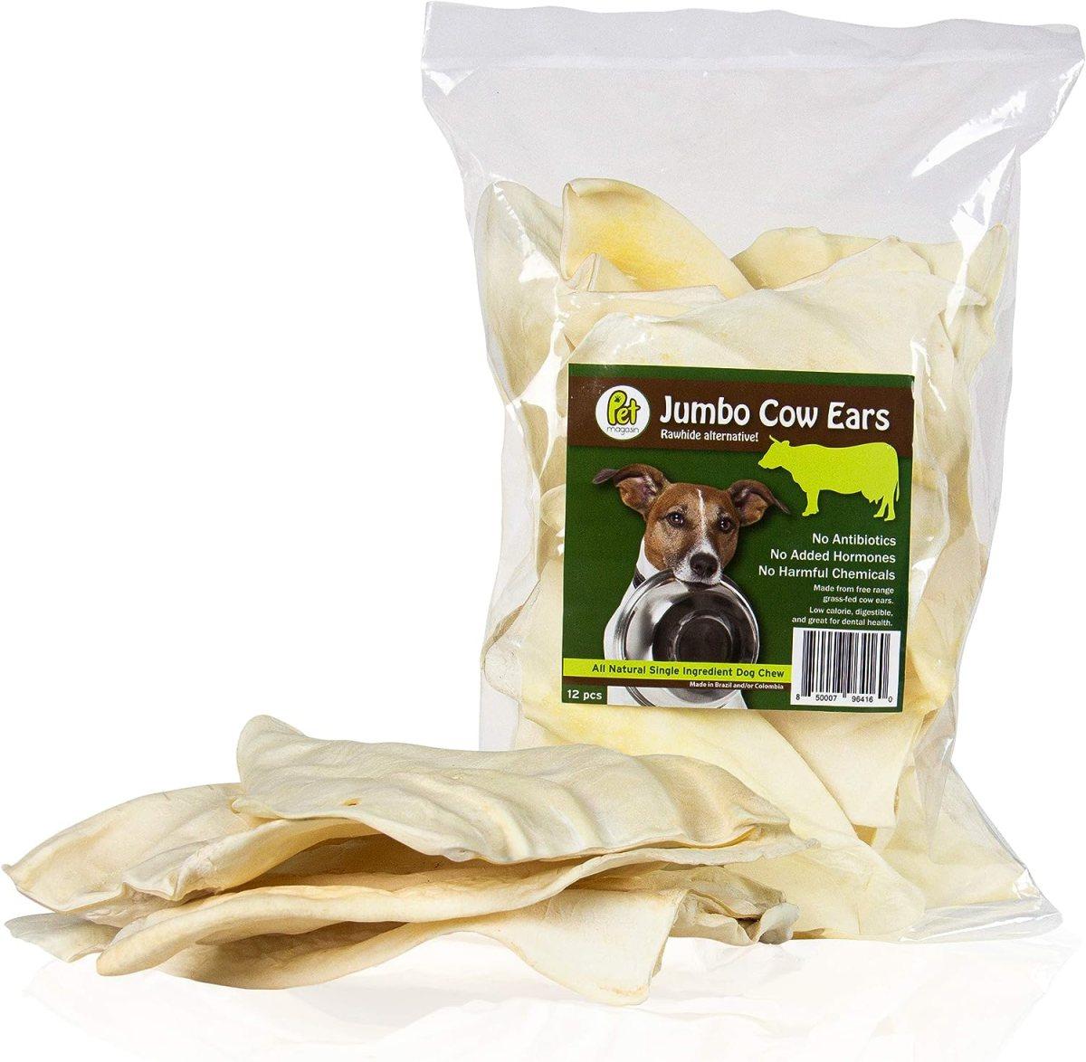 PET MAGASIN Orejas de Vaca Gigantes, Naturales, Paquete de 12, para Perros, súper masticables, Larga duración, Alternativa al Cuero Crudo