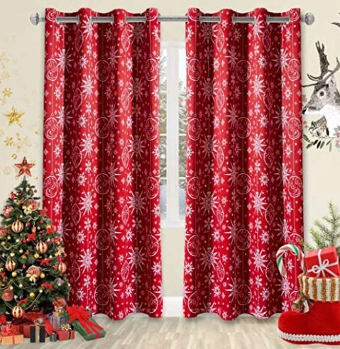 Amazon.com: LORDTEX Snow Print Christmas Curtains for Living Room and  Bedroom - Thermal Insulated Blackout Curtains, Noise Reducing Window Drapes,  52 x 84 Inches Long, Red, Set of 2 Curtain Panels: Kitchen & Dining