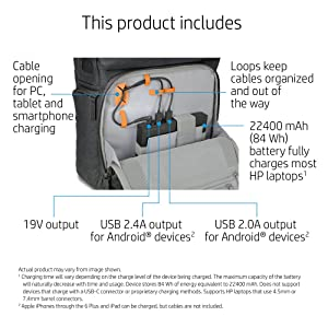 Included 22400mAh battery in its own pocket