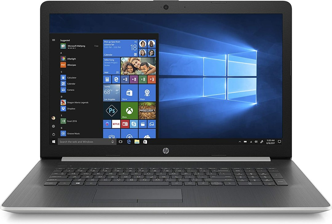 "HP 17-ca1000nf PC Portable 17,3"" HD Argent (Lecteur DVD, AMD Ryzen 3, RAM 4 Go, 1 To, AZERTY, Windows 10)"