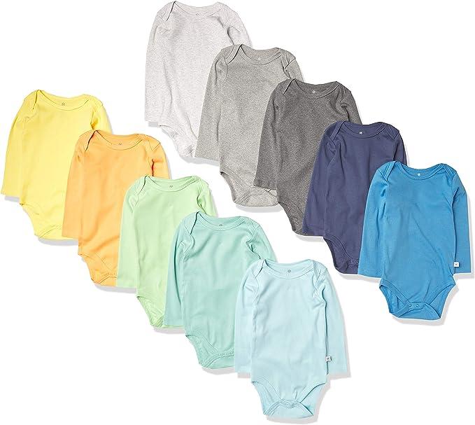 HonestBaby Baby 10-Pack Organic Cotton Long Sleeve Bodysuits