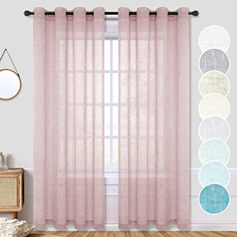 Amazon Com Semi Sheer Red Curtains 84 Inches Long For Bedroom Decor 2 Panel Set Neutral Mauve Dusty Rose Pink Elegant Linen Look Window Sheer Drape Privacy Light Filtering Grommet Curtains For Living
