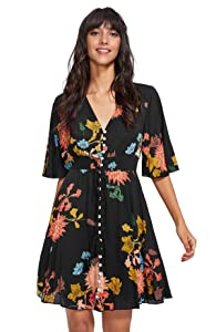 Milumia Women's Boho Floral Print Party Dress