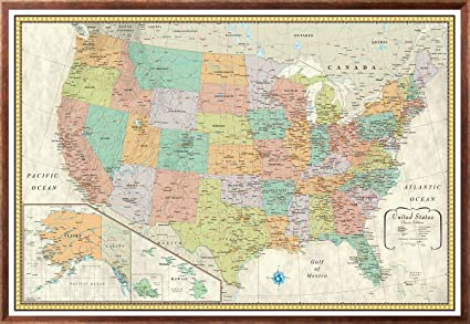 com 32x50 rmc classic united states usa wall map framed