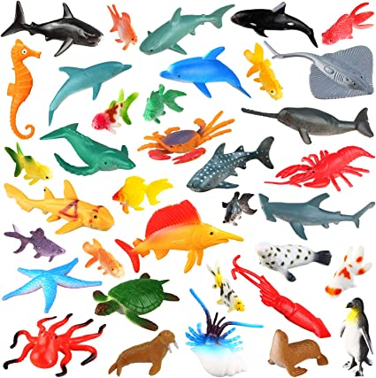 Amazon Com 36 Pack Ocean Sea Animals Bath Toys For Party Favor Supplies 2 4 Inch Rubber Ocean Creatures Figures With Marine Octopus Shark Fish Sea Life For Child Education Party Bag Filler