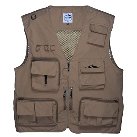 Autumn Ridge Traders Fly Fishing Photography Climbing Vest with 16 Pockets Made with Lightweight Mesh Fabric for Travelers, Sports, Hiking, Bird Watching, River Guide Adventures and Hunting