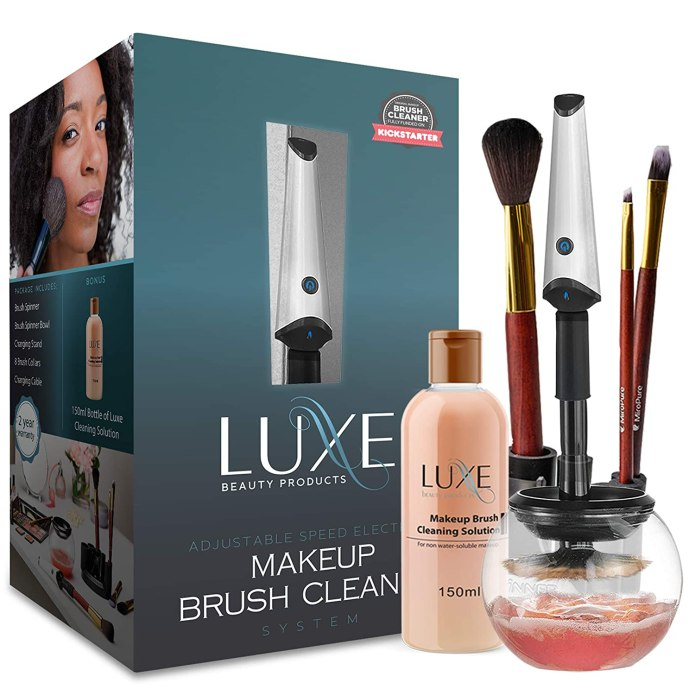 Amazon Com Luxe Makeup Brush Cleaner 5oz Makeup Cleaning Solution Included Usb Charging Station 3 Adjustable Speeds Instantly Wash And Dry Your Makeup Brushes Beauty