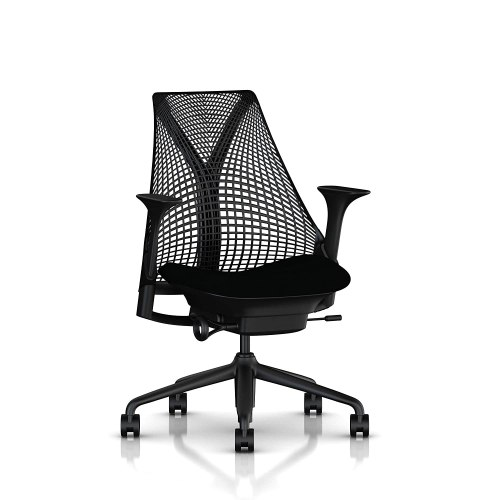 Herman Miller Sayl Task Chair: Tilt Limiter - Stationary Seat Depth - Stationary Arms - Standard Carpet Casters - Black Base & Frame