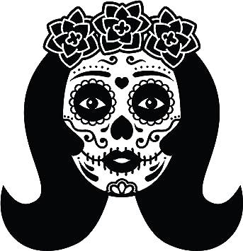 Amazon Com Simple Dia De Los Muertos Sugar Skull Female Face Cartoon Vinyl Decal Sticker 12 Tall 1 Automotive