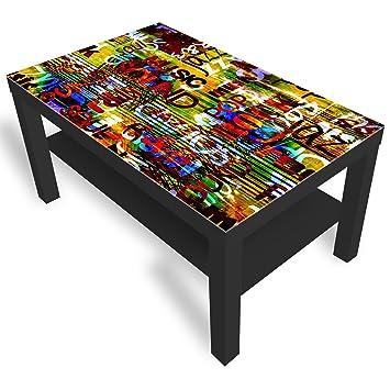 Dekoglas Ikea Graffiti Table Basse En Verre Avec Plateau En