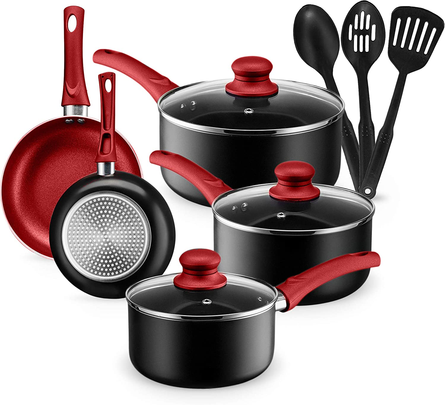Chef's Star 11 Piece Pots and Pans Set Non-Stick Induction Ready 100% APEO, PFOA and PFOS Free (Red)