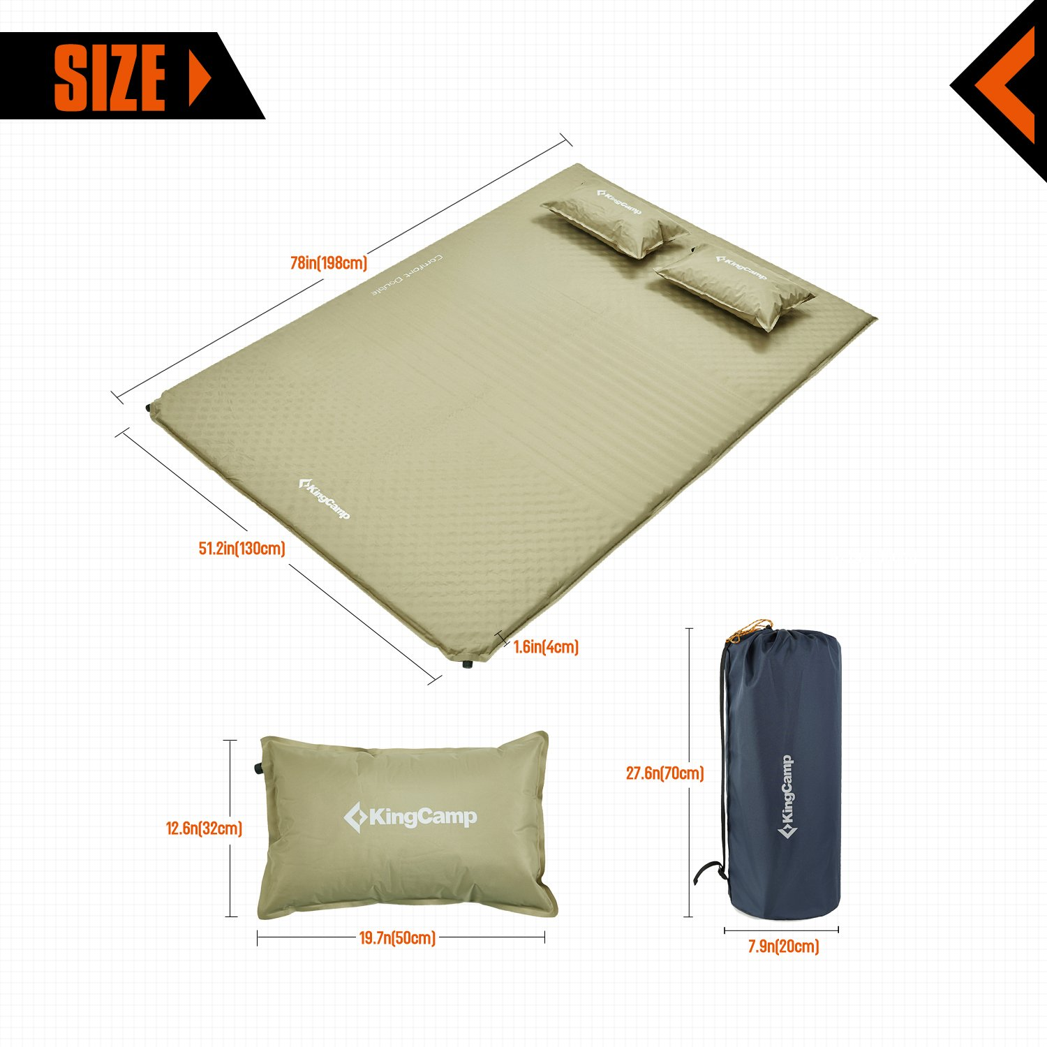 KingCamp Triple Zone Comfort Double Self Inflating 75D Micro Brushed Sleeping Pad Mattress with 2 Pillows