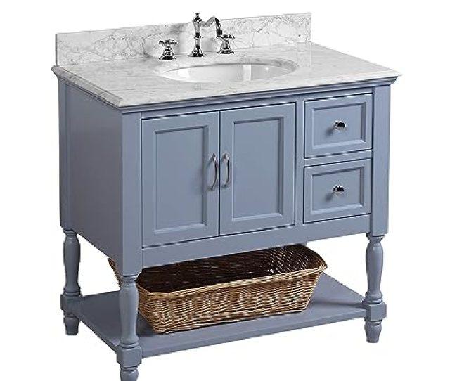 Beverly 36 Inch Bathroom Vanity Carrara Powder Blue Includes Authentic Italian
